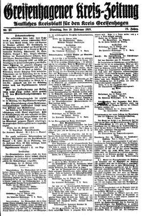 Greifenhagener Kreiszeitung vom 18.02.1919