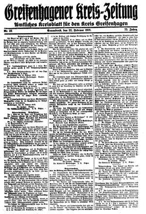 Greifenhagener Kreiszeitung vom 22.02.1919