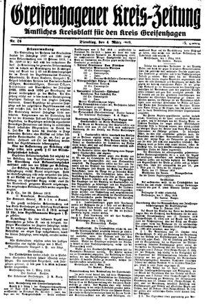 Greifenhagener Kreiszeitung vom 04.03.1919