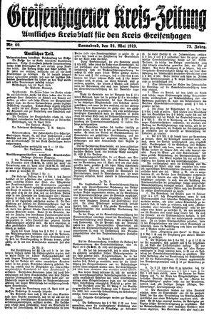Greifenhagener Kreiszeitung vom 24.05.1919