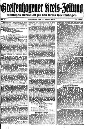 Greifenhagener Kreiszeitung vom 15.01.1920