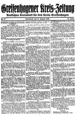 Greifenhagener Kreiszeitung vom 31.01.1920