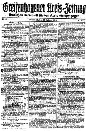 Greifenhagener Kreiszeitung on Feb 21, 1920
