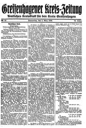 Greifenhagener Kreiszeitung vom 04.03.1920