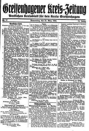 Greifenhagener Kreiszeitung vom 25.03.1920