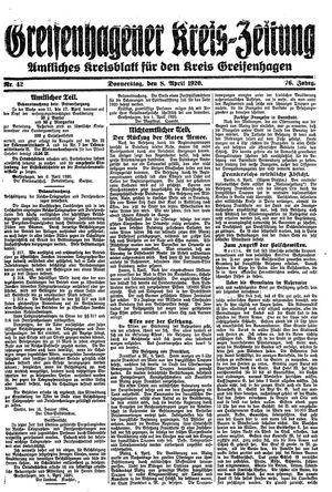 Greifenhagener Kreiszeitung vom 08.04.1920
