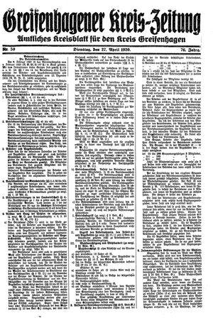 Greifenhagener Kreiszeitung vom 27.04.1920