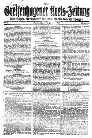 Greifenhagener Kreiszeitung vom 01.01.1921