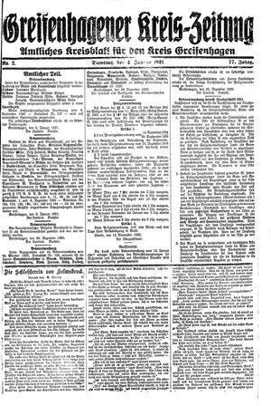 Greifenhagener Kreiszeitung vom 04.01.1921