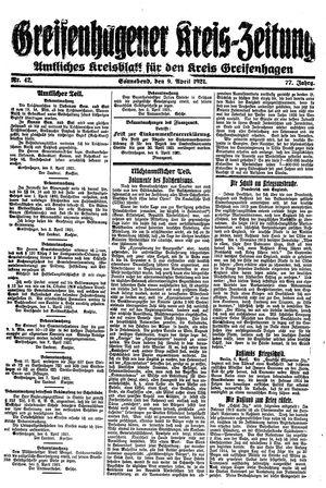 Greifenhagener Kreiszeitung vom 09.04.1921