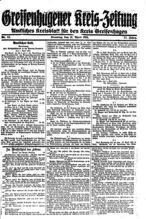Greifenhagener Kreiszeitung vom 12.04.1921