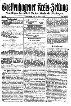 Greifenhagener Kreiszeitung vom 14.04.1921