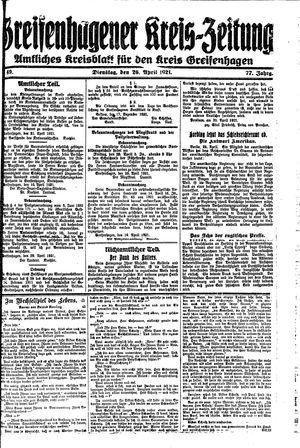 Greifenhagener Kreiszeitung vom 26.04.1921