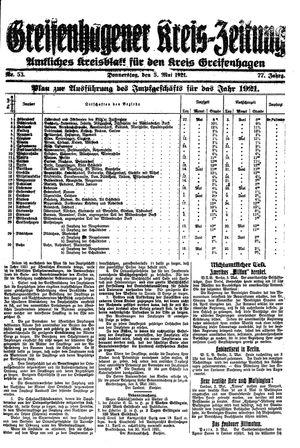 Greifenhagener Kreiszeitung vom 05.05.1921