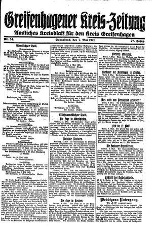 Greifenhagener Kreiszeitung vom 07.05.1921