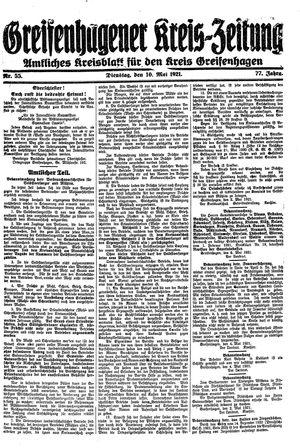 Greifenhagener Kreiszeitung vom 10.05.1921