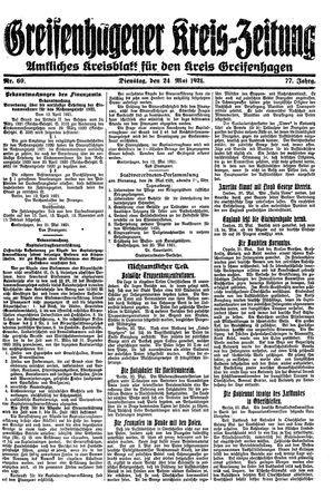 Greifenhagener Kreiszeitung on May 24, 1921