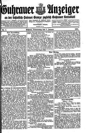 Guhrauer Anzeiger an der Schlesisch-Posener Grenze vom 07.01.1915
