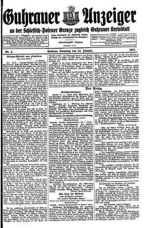 Guhrauer Anzeiger an der Schlesisch-Posener Grenze vom 12.01.1915