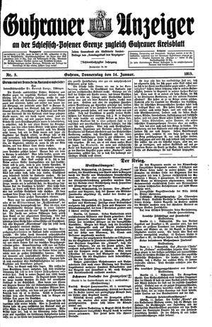 Guhrauer Anzeiger an der Schlesisch-Posener Grenze vom 14.01.1915