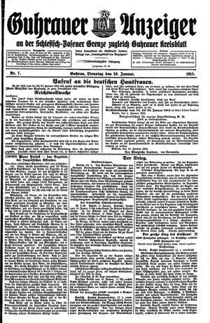 Guhrauer Anzeiger an der Schlesisch-Posener Grenze vom 19.01.1915