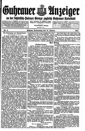 Guhrauer Anzeiger an der Schlesisch-Posener Grenze vom 21.01.1915