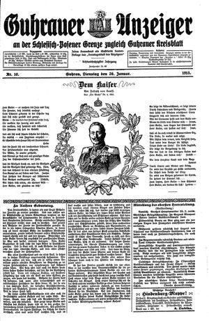 Guhrauer Anzeiger an der Schlesisch-Posener Grenze vom 26.01.1915