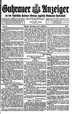 Guhrauer Anzeiger an der Schlesisch-Posener Grenze vom 02.02.1915