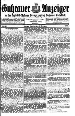 Guhrauer Anzeiger an der Schlesisch-Posener Grenze vom 09.02.1915