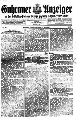Guhrauer Anzeiger an der Schlesisch-Posener Grenze vom 11.02.1915