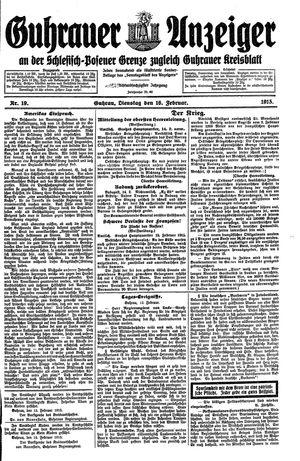 Guhrauer Anzeiger an der Schlesisch-Posener Grenze vom 16.02.1915