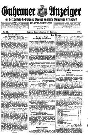Guhrauer Anzeiger an der Schlesisch-Posener Grenze vom 18.02.1915