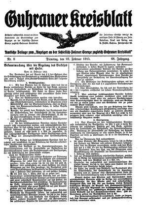 Guhrauer Anzeiger an der Schlesisch-Posener Grenze vom 23.02.1915