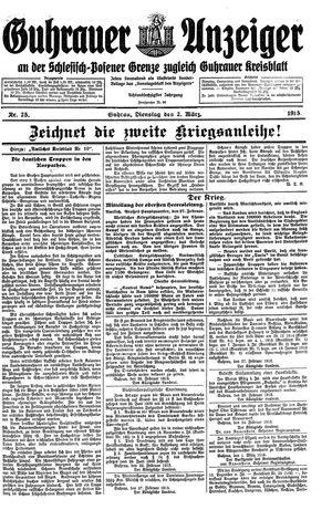 Guhrauer Anzeiger an der Schlesisch-Posener Grenze vom 02.03.1915