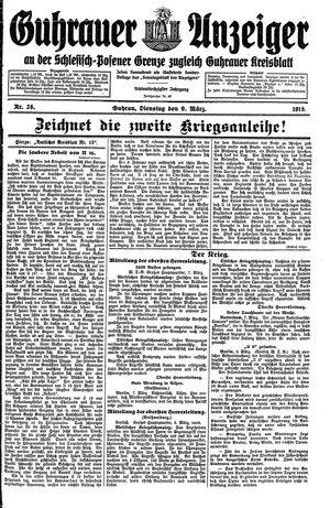 Guhrauer Anzeiger an der Schlesisch-Posener Grenze vom 09.03.1915