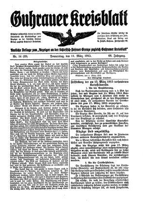 Guhrauer Anzeiger an der Schlesisch-Posener Grenze on Mar 11, 1915