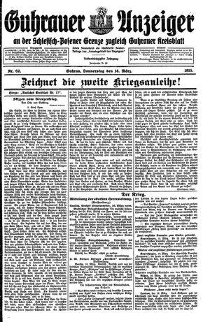 Guhrauer Anzeiger an der Schlesisch-Posener Grenze vom 18.03.1915