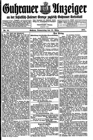 Guhrauer Anzeiger an der Schlesisch-Posener Grenze vom 25.03.1915