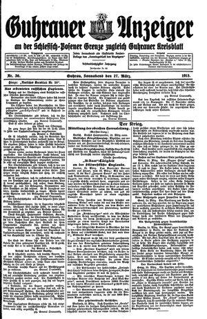 Guhrauer Anzeiger an der Schlesisch-Posener Grenze vom 27.03.1915