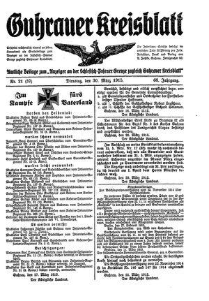 Guhrauer Anzeiger an der Schlesisch-Posener Grenze on Mar 30, 1915