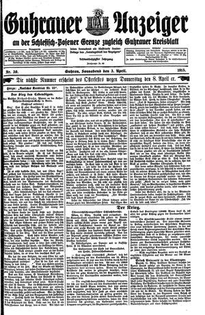 Guhrauer Anzeiger an der Schlesisch-Posener Grenze vom 03.04.1915
