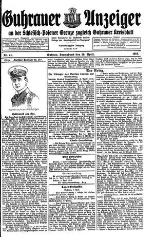 Guhrauer Anzeiger an der Schlesisch-Posener Grenze vom 10.04.1915