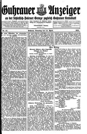 Guhrauer Anzeiger an der Schlesisch-Posener Grenze on Apr 13, 1915