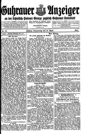 Guhrauer Anzeiger an der Schlesisch-Posener Grenze vom 15.04.1915