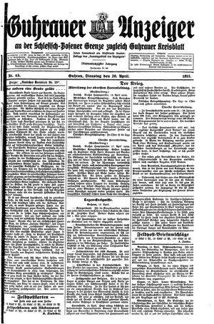 Guhrauer Anzeiger an der Schlesisch-Posener Grenze vom 20.04.1915