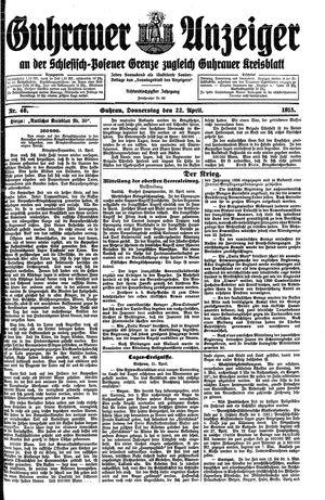 Guhrauer Anzeiger an der Schlesisch-Posener Grenze vom 22.04.1915
