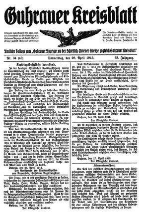 Guhrauer Anzeiger an der Schlesisch-Posener Grenze vom 29.04.1915