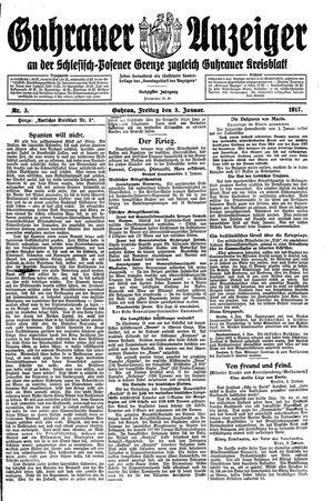 Guhrauer Anzeiger an der Schlesisch-Posener Grenze vom 05.01.1917
