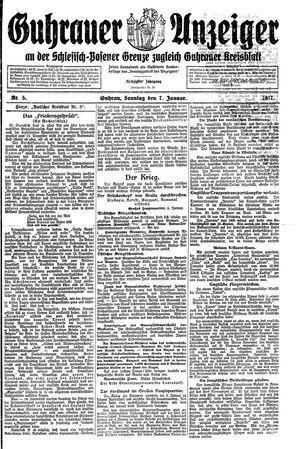 Guhrauer Anzeiger an der Schlesisch-Posener Grenze vom 07.01.1917