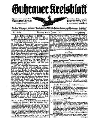 Guhrauer Anzeiger an der Schlesisch-Posener Grenze vom 09.01.1917